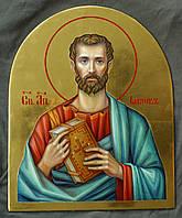 Сусальное золочение иконы Святого апостола Иакова Зеведеева для хороса в храм.