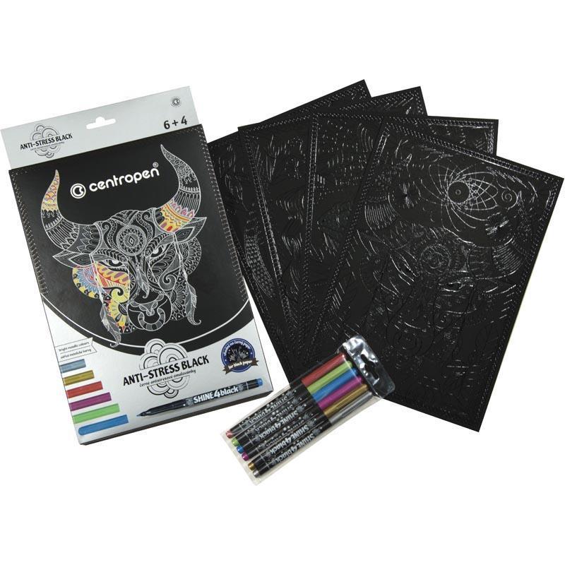 Раскраска на чёрной бумаге Centropen Anti-stress black 4 листа A4 формата, 6 маркеров металлических цветов