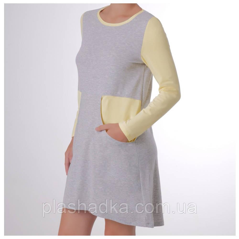 Женская ночная сорочка с длинным рукавом, меланж+ваниль