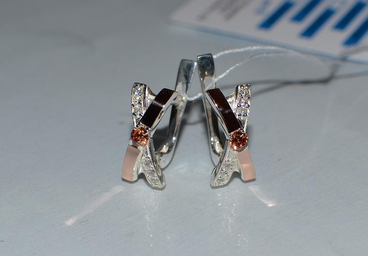 Купить Серебряные серьги с золотыми пластинами Мариетта Аметист