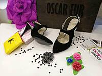 Замшевые босоножки на шпильке (черные), фото 1