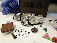Кожаные босоножки серебряного цвета, фото 1