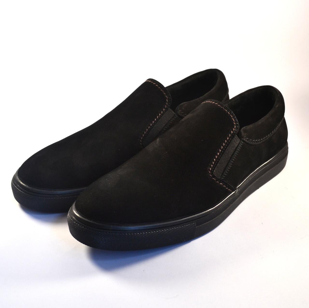 Слипоны мужские повседневные нубуковые черные обувь весенняя на резинках Rosso Avangard Black Nub Slipy