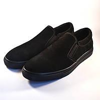 Слипоны мужские повседневные нубуковые черные обувь весенняя на резинках Rosso Avangard Black Nub Slipy, фото 1