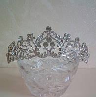 Свадебная диадема, корона под серебро, тиара, высота 4,5 см., фото 1