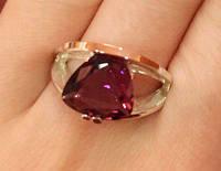 Кольцо серебряное с золотыми накладками Джангл с турмалином