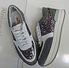 Кроссовки из натуральной кожи и замши комбинированные серый+белый+вставка с декоративными блестками Код 1449