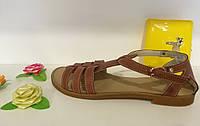 Женские кожаные сандали (темно-коричневые)