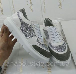 Кроссовки из натуральной кожи и замши серый+белый+вставка с серебристыми декоративными блестками Код 1450, фото 2