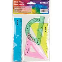 Набор для черчения Kite линейка 15см+ 2 угольника+транспортир пластик прозрачныйK17-281