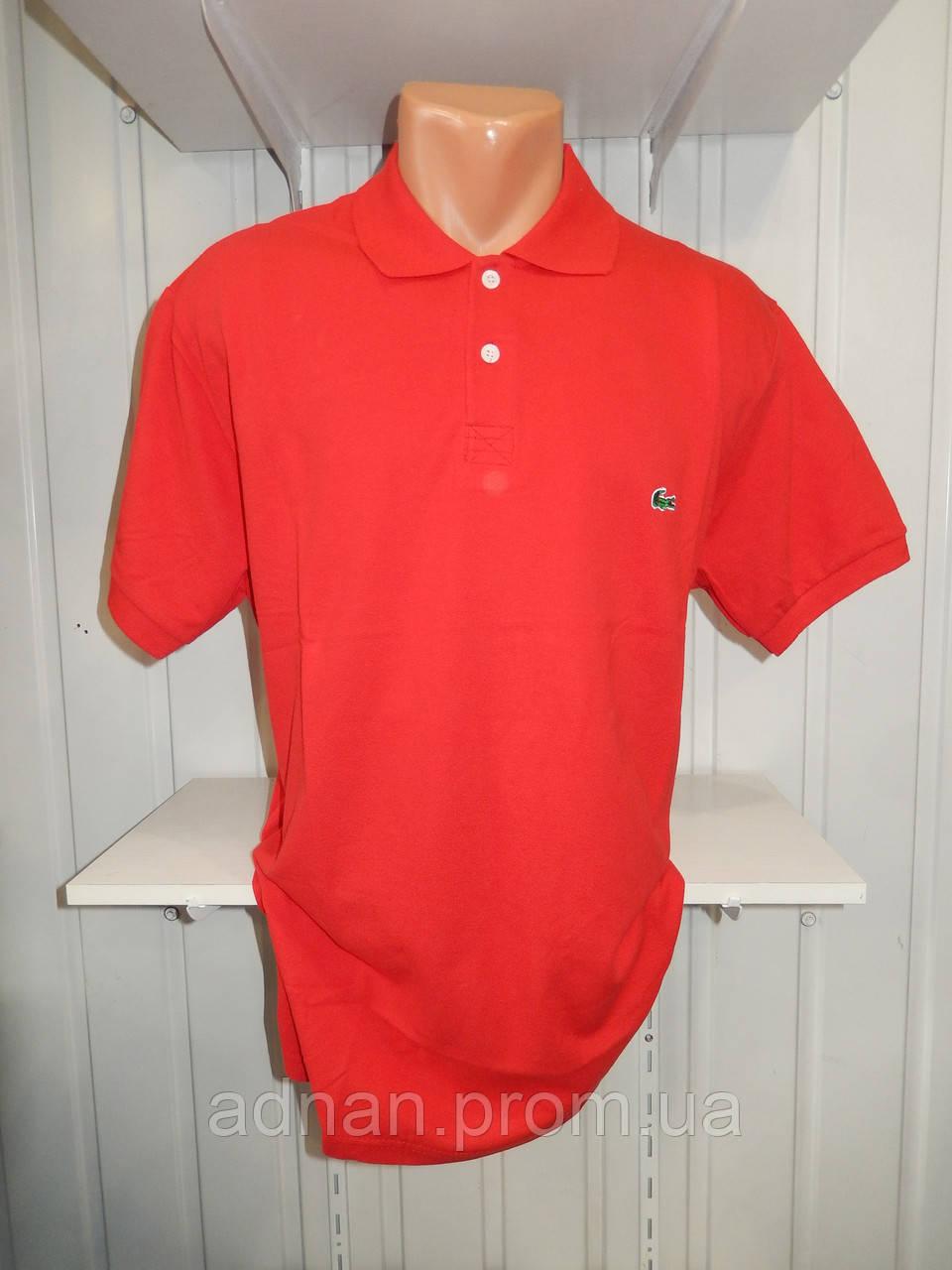 Футболка мужская LACOSTE поло однотонная, манжет, батал 005 \ купить футболку мужскую оптом