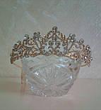 Свадебная диадема под золото, корона, тиара, высота 4,5 см., фото 2