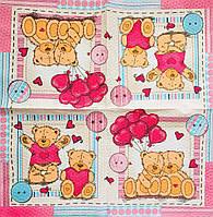 """Салфетка декупажная 33x33 см 29 """" Влюбленные мишки Тедди """" Салфетка для декупажа детская на день рождение"""