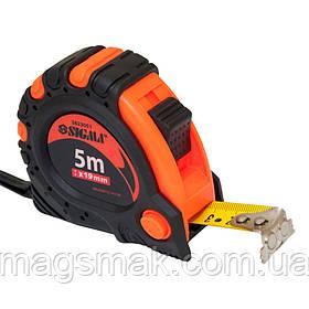 Рулетка магнитная автостоп+тормоз 5м*19мм Sigma (3823051)
