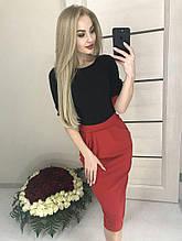 Платье женское облегающее 42-46р верх черный юбка красная