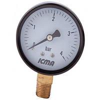 """Манометр давления воды   4 бар ICMA d63 вертикальный 1/4"""""""
