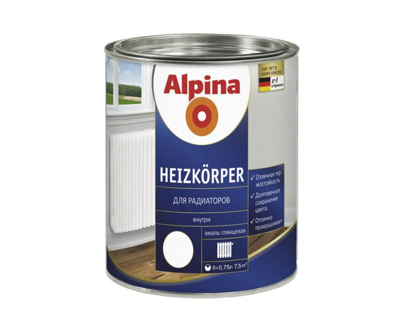 Эмаль алкидная ALPINA HEIZKOERPER ГЕРМАНИЯ для радиаторов отопления  белая, 0,75л