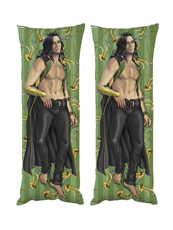 Подушка обнимашка дакимакура Локи Марвел двухсторонняя 40х100см со съемной наволочкой (dak0504)
