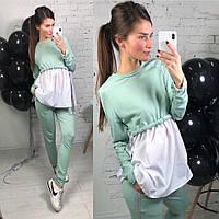 Костюм женский стильный свитшот и брюки с лентами из люрекса трехнитка разные цвета DLd861, фото 1