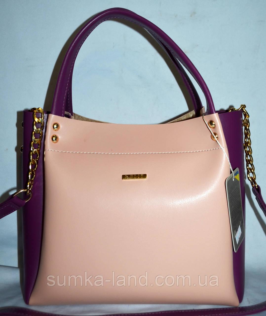 c3101b4a1243 Женская элитная пудровая сумка B Elit с фиолетовыми вставками с ремешком на  цепочке 26 23