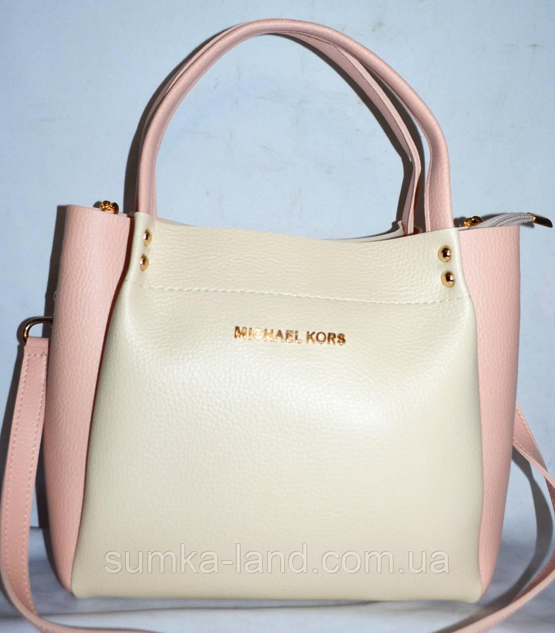 6cf18ebe0502 Женская молочная сумка Michael Kors с пудровыми вставками 26 25 см ...