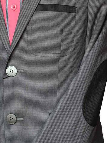 Пиджак школьный для мальчика (152-170) подростковый серый в мелкую клетку с налокотниками, фото 2