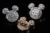 """Брошь """"Микки Маус"""" (золото) в белых камнях, украшения для одежды, ювелирная бижутерия"""