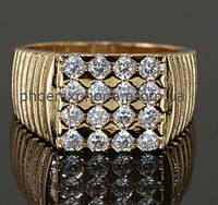 Стильное кольцо - печатка с фианитами, покрытое золотом (129820) 585, 18