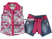Комплект-тройка майка + блузон + джинсовые шорты с поясом