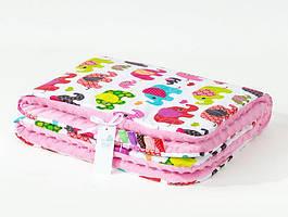 Плед детский плюшевый BabySoon Слоники на розовом 80х85 см розового цвета
