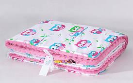 Плед детский плюшевый BabySoon Нежные совушки на розовом плюше 80х85 см