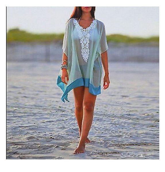 Пляжная накидка голубая - размер универсальный (бюст до 100см, длина 81см), шифон