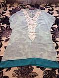 Пляжная накидка голубая - размер универсальный (бюст до 100см, длина 81см), шифон, фото 4