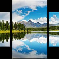 Картина модульная из стекла - 3 части (триптих) - трюмо - с фацетом - горное озеро