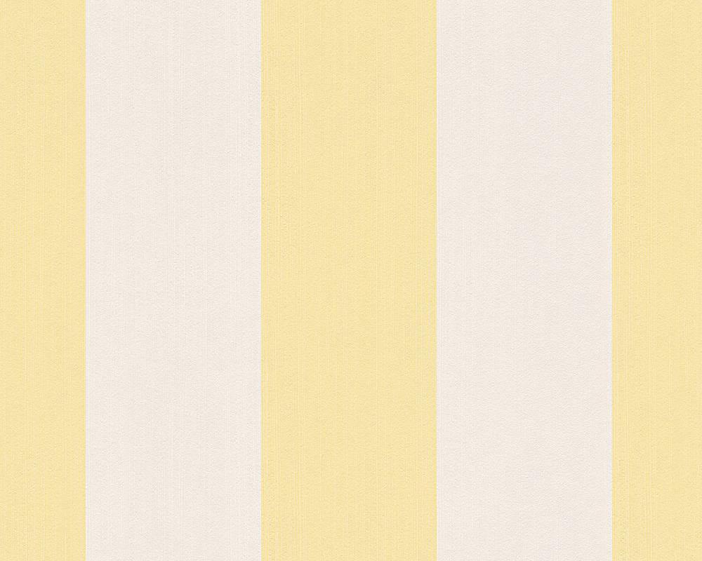 Обои в широкую желтую и белую полоску 303781.
