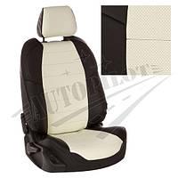 Чехлы на сиденья Chery Tiggo Т11 (50/50) с 05-12г. / Toyota Rav-4 с 00-05г. (Экокожа Черный   Белый)