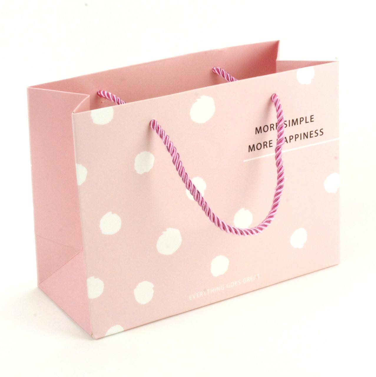 Подарочный пакет 19.5 х 14.5 х 8.5 см More simple More happiness розовый