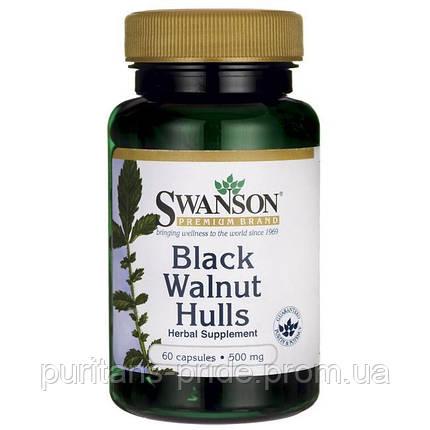 Антипаразитное засіб - Шкірка чорного горіха, SWANSON BLACK WALNUT HULLS 500MG CAPS 60, фото 2