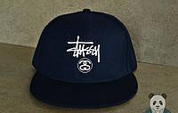 Кепка, cнепбек Stussy, стаси, белый  логотип (темно-синий), Реплика