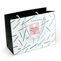 Подарочный пакет 19.5 х 14.5 х 8.5 см More simple More happiness голубой