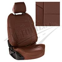 Чехлы на сиденья Skoda Yeti (передние спинки одинаковые) с 09г. (Экокожа Темно-коричневый   Темно-коричневый)