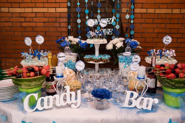 Кэнди бар для свадьбы в сине-белых тонах