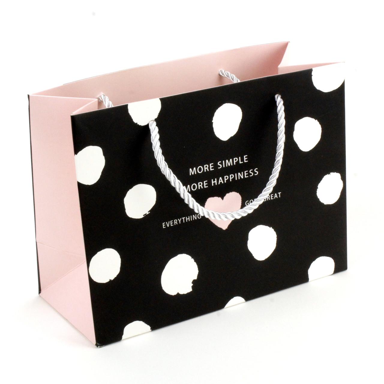 Подарочный пакет 19.5 х 14.5 х 8.5 см More simple More happiness черный
