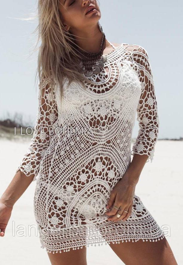 eeff0f1b8433 Туника пляжная молочная ажурная для пляжа платье пляжное летнее размер S\M