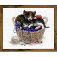"""Набор для вышивания Риолис  """"Котята в корзине"""", фото 1"""