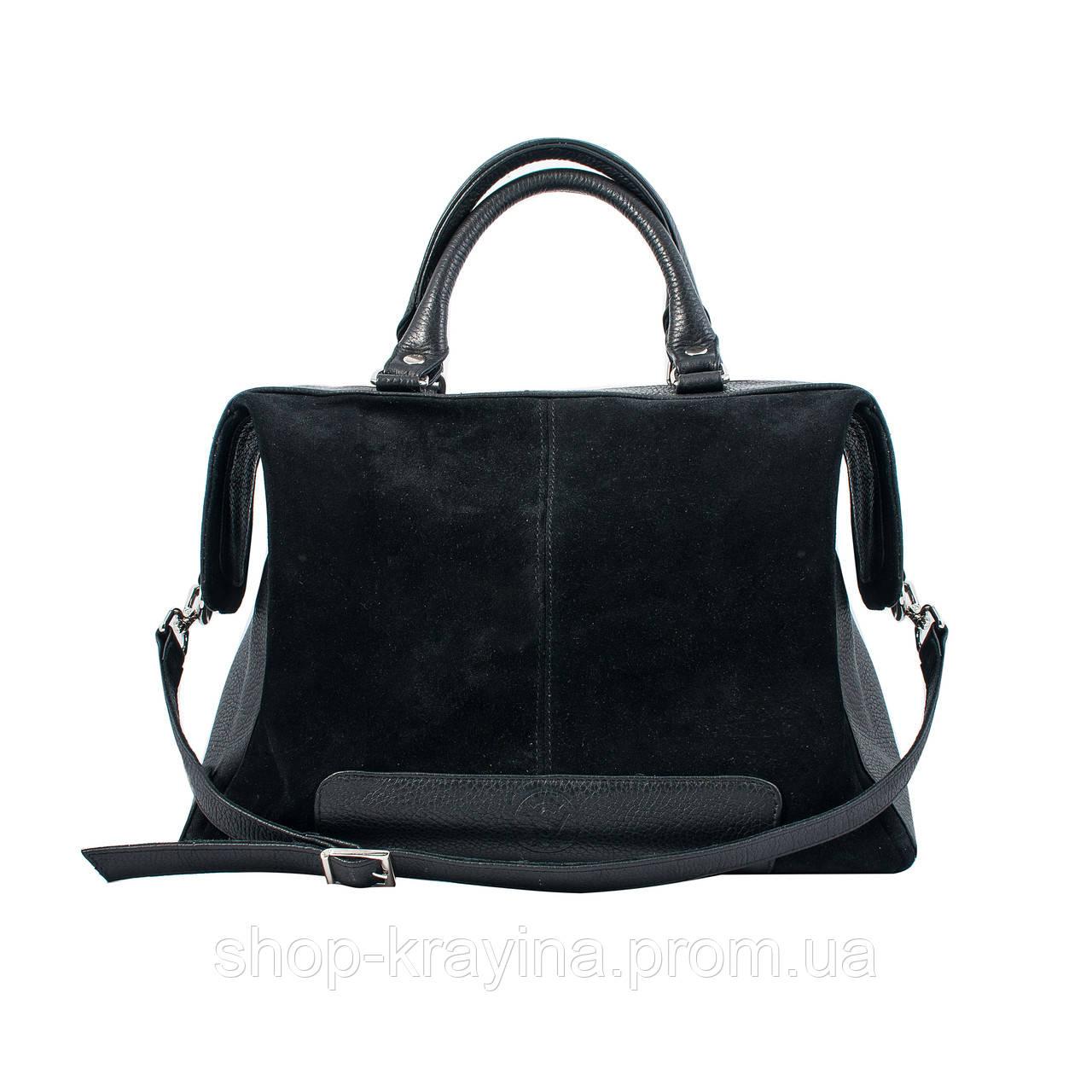 Кожаная сумка VS60  black 32х25х18 см