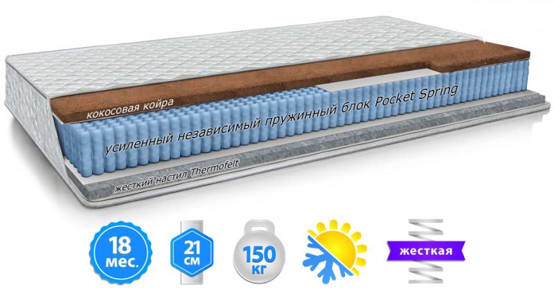 Матрас ортопедический на блоке Pocket Spring жесткий Зима-Лето Топаз Велам 80x190 см