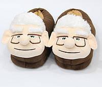 Тапочки женские дедушка коричневые ( мягкие игрушки тапочки )