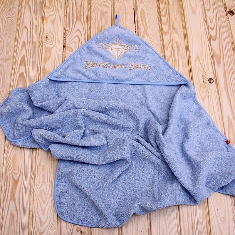 Детское полотенце с уголком Brilliant 90х80 (голубое)