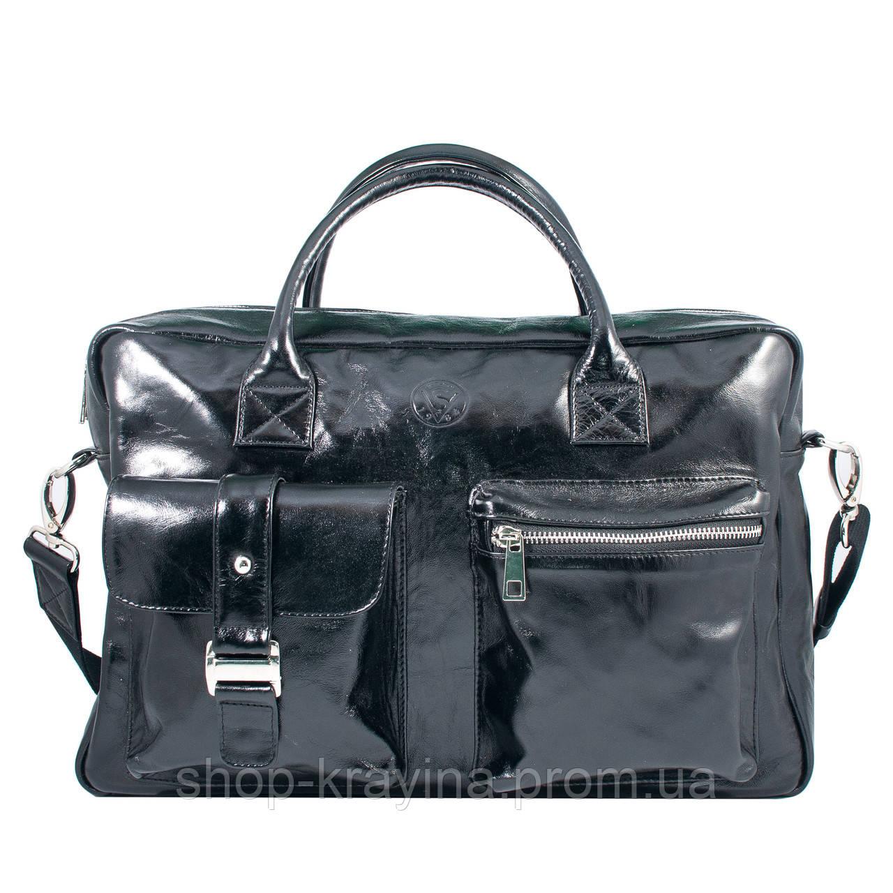 Кожаная сумка VS75  black 40х26х10 см
